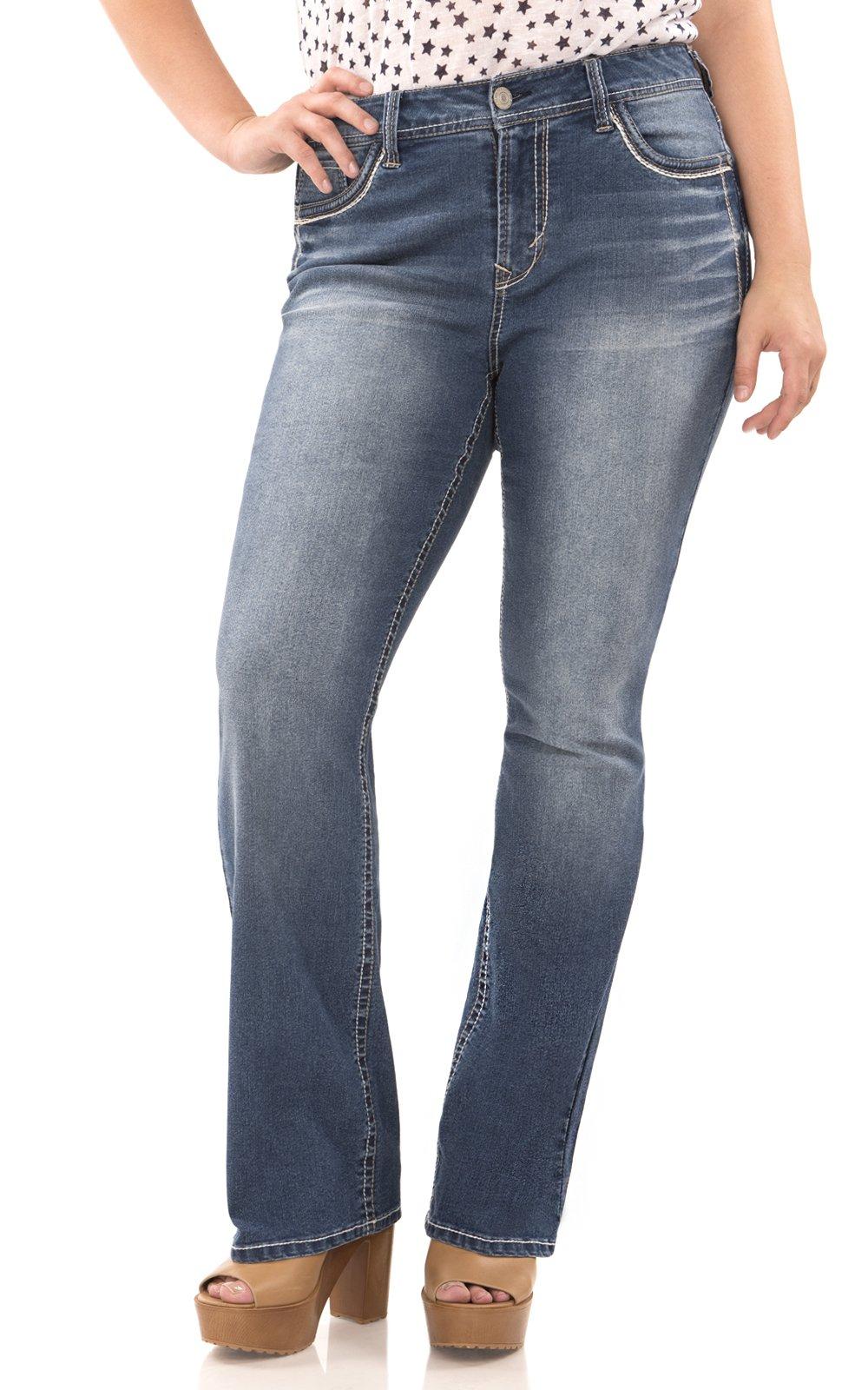 WallFlower Women's Juniors Plus-Size Classic Legendary Bootcut Jeans in Keller, 24 Plus Short