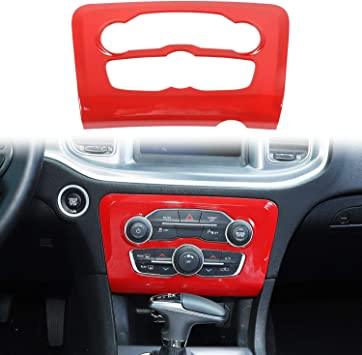 ABS Red//Black Fiber 1pc Voodonala for Charger Radio AC CD Switch Panel Trim for 2015-2019 Dodge Charger