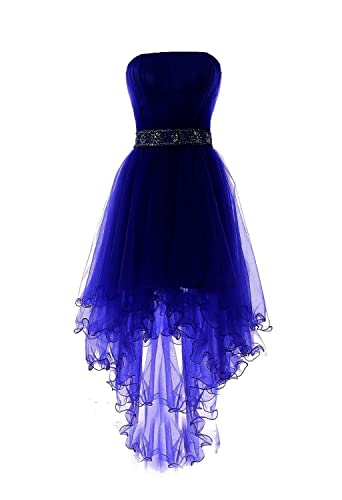 Fanciest Women's Strapless Beaded High Low Prom Dresses Short Homecoming Gowns
