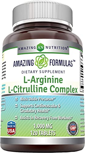 Amazing Nutrition L-Arginine L-Citrulline Complex 1000 Mg* Combines Two Amino Acids with Potential Health Benefits * Supports Energy Production * Ads to Improve Athletic Performance 120 Tablets