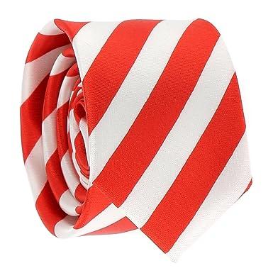 cravateSlim Corbata Estrecha de Rayas Blanca y Roja: Amazon.es ...