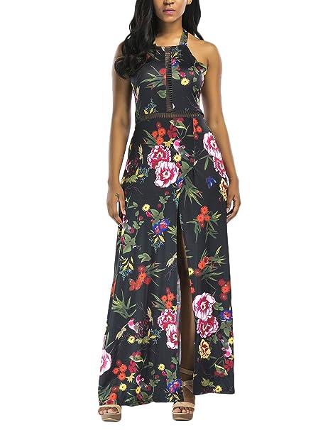 Vestidos Largos De Verano Mujer Elegantes Vintage Estampado Flores con Aberturas Vestido Playa Sin Mangas Espalda