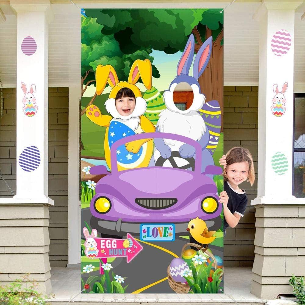 Decoraciones para Fiestas de Pascua Conejitos en Movimiento Banner de Puerta de Fotos Tela Grande Fondo de Pascua Fondo de Pancarta de Fotos Suministros Divertidos para Juegos de Caza 6 x 3 pies