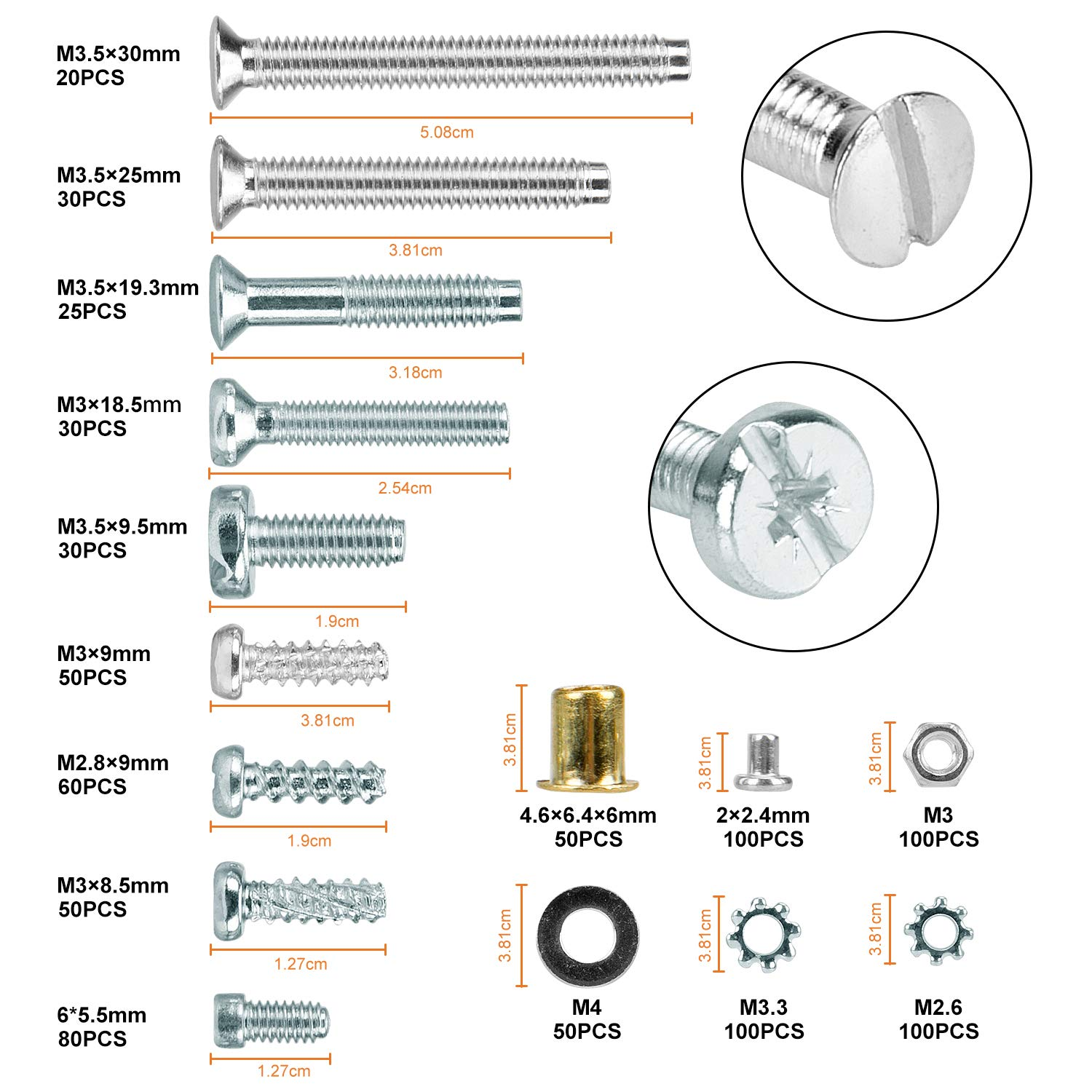 Repair Woodwork D053 WELLOCKS Screws washers Assortment Set 875 PCS M2.8 M3 M3.5 Self Tapping Machine Screw Carbon Steel with External Tooth Star Lock Brass Eyelet and Rivet Mix Kit for Homemade