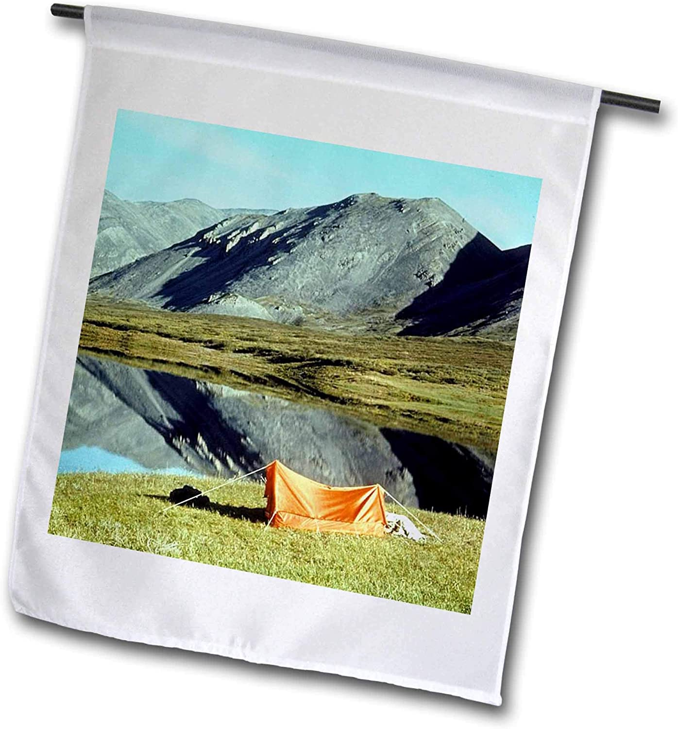 3dRose 2 Travel – Camping, Hiking, Biking Activities - Small Tent Camping by The Lake Mountain Reflection - 12 x 18 inch Garden Flag (fl_311401_1)