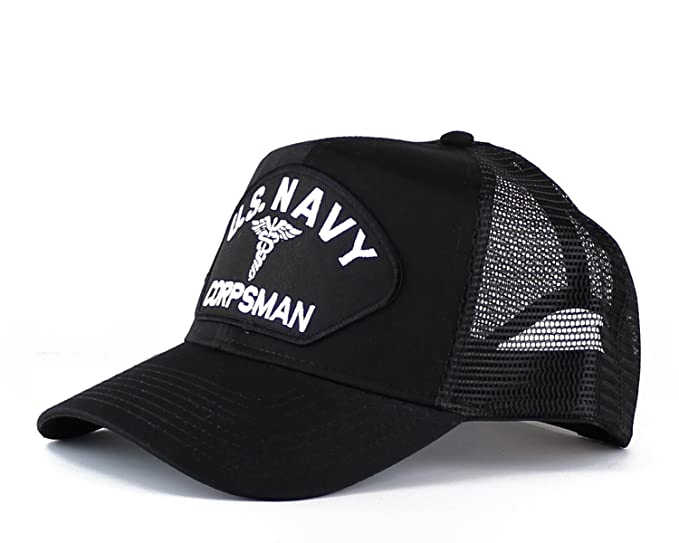 a97181c86db Military U.S. Navy Corpsman Large Embroidered Iron On Patch Snapback  Trucker Cap (Black) at Amazon Men s Clothing store