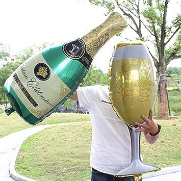 ABYED Botella de Champán Copas de vino Globo de aluminio Cumpleaños Ceremonia de la boda Soltero