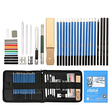 Includes Graphite Pastel And Charcoal Pencils And Accessories High Quality Materials 40 Piece Drawing Pencils And Sketch Set In Up Zipper Case