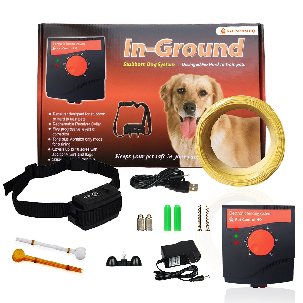 1 Shock Collar with Receiver Wireless Electric Dog Fence System by Pet Control HQ, Safe Electric Pet Containment System Including An Adjustable Waterproof Rechargeable Dog Shock Collar with Receiver, Invisible Wire Fence, 5 Correction Levels, 10 Acres, CE