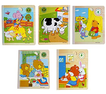 Hnt Kids Assorted Jigsaw Wooden Book Puzzle (6-in-1 & 67 Pieces) | Animal Themed | Early Educational Toys for Toddlers Kids 2 Years +