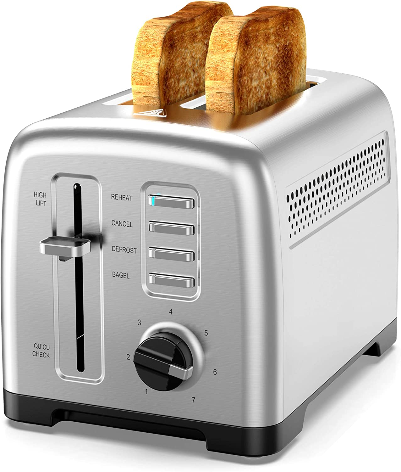 Toaster 2 Slice Stainless steel Toaster,Fast Toaster.with 7 bread Shadow Settings and Defrost/Bagel/Cancel/Heating/Quick Check Functions, Removable Bread Crumb Tray, 900W Silver