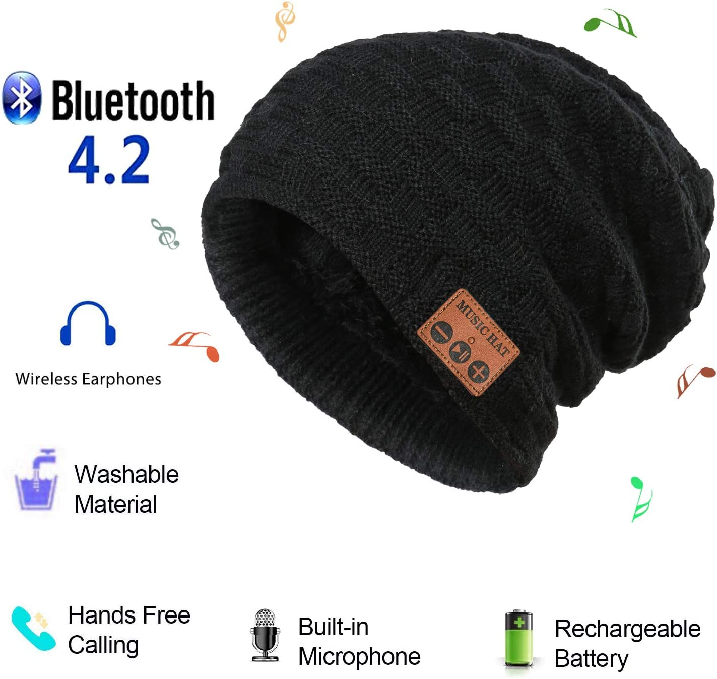 Bluetooth Beanie Music Hat,Wireless Headphones Musical Speaker Grid Pattern Knitted Cap for Winter Walking Dog Winter Sports Traveling Exercise Running Waiting Bus (Black)