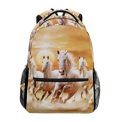 COOSUN Blancos caballos al galope Casual Mochila Mochila Escolar bolsa de viaje Multicolor: Amazon.es: Equipaje