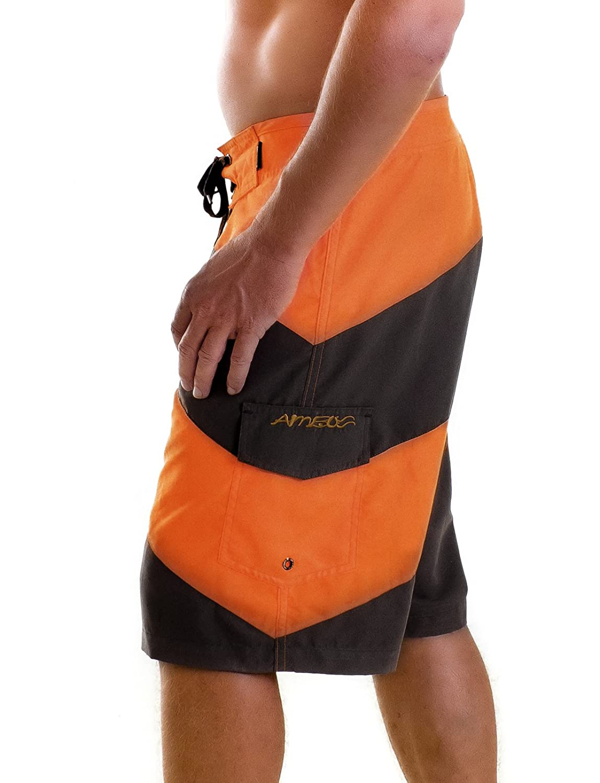 Amboss Men's Striped Swimming Shorts Orange Orange