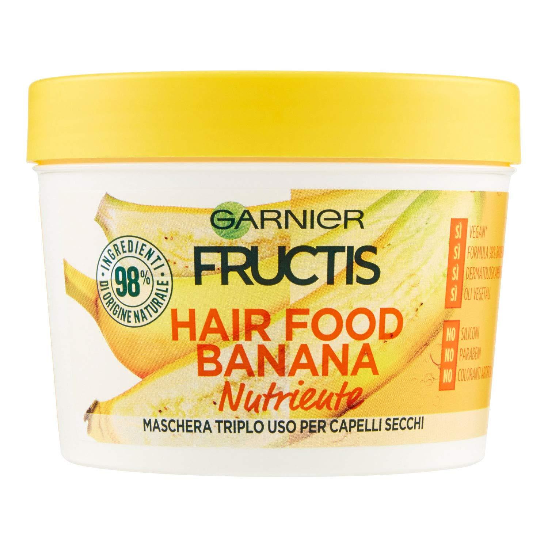 Fructis Hair Food Banana Maschera Nutriente 3 in 1 con Formula Vegana per Capelli Secchi - 390 ml GARNIER