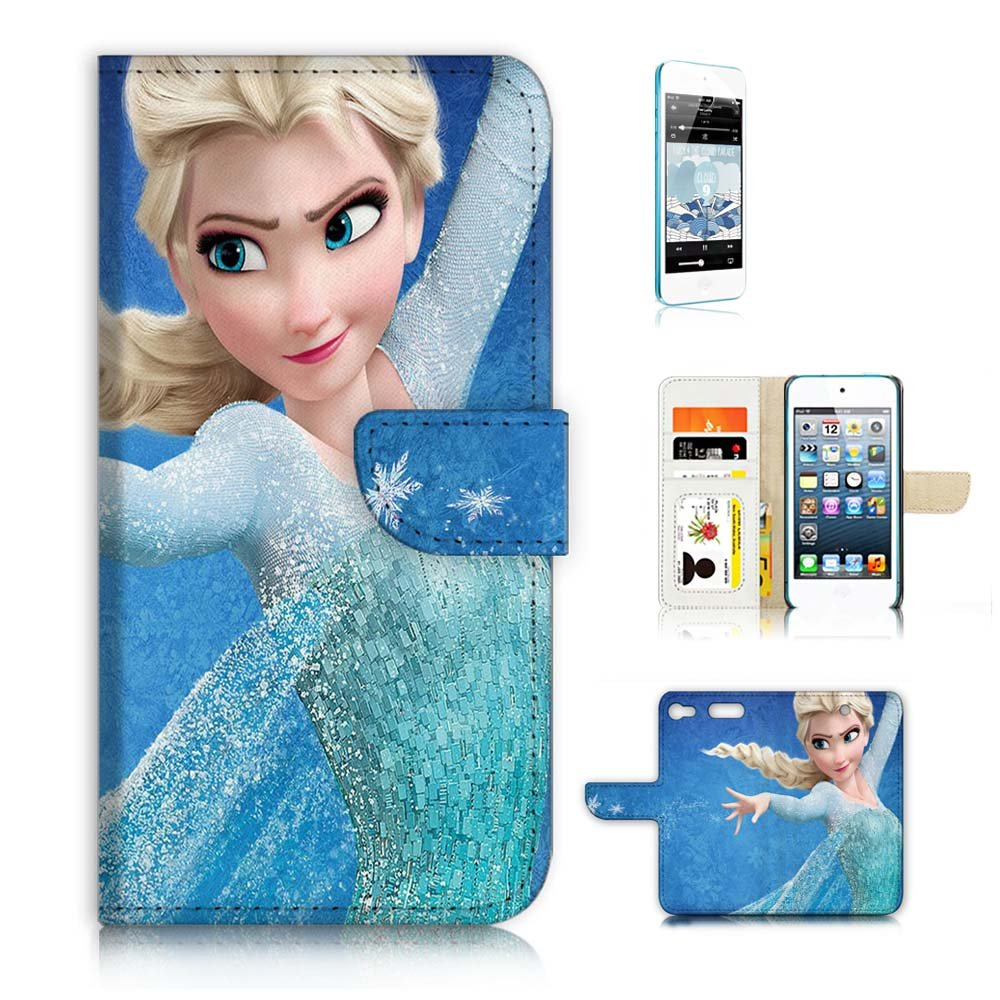 ( For iPod Touch 6 / iTouch 6 ) Wallet Case Cover & Screen Protector Bundle! A9088 Frozen Elsa
