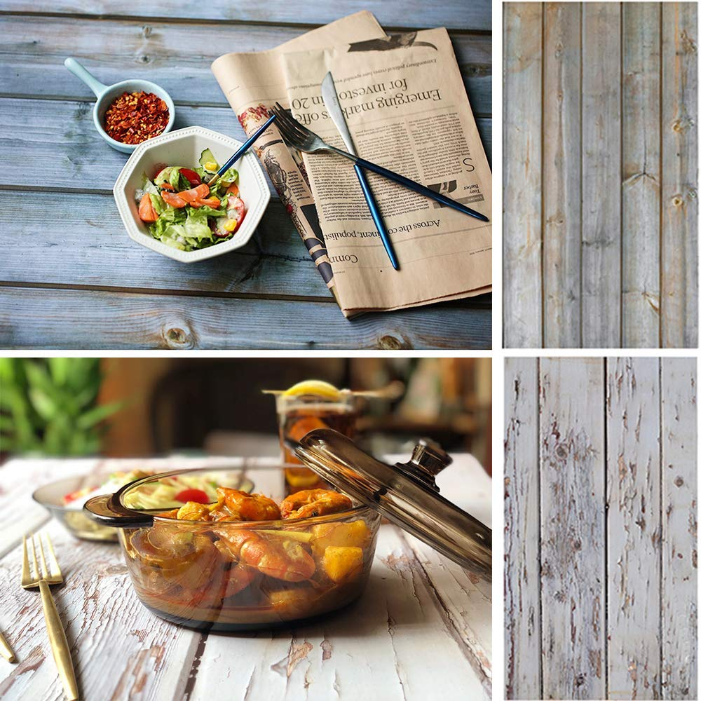 Selens 22x35Inch 2-in-1 Food Photography Wooden Background 4pcs Paper for Photographers, Foodies, Gourmet Bloggers, Cosmetic Sellers, Online Stores Product Photography, Life Photos and More by Selens (Image #3)