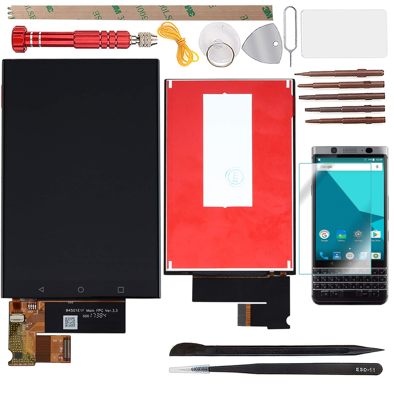 YHX-US Assembly Replacement for BlackBerry Keyone DTEK70 BBB100-1 BBB100-2 BBB100-3 LCD Display Touch Screen Digitizer with 1 Screen Protector+Tools(Black)