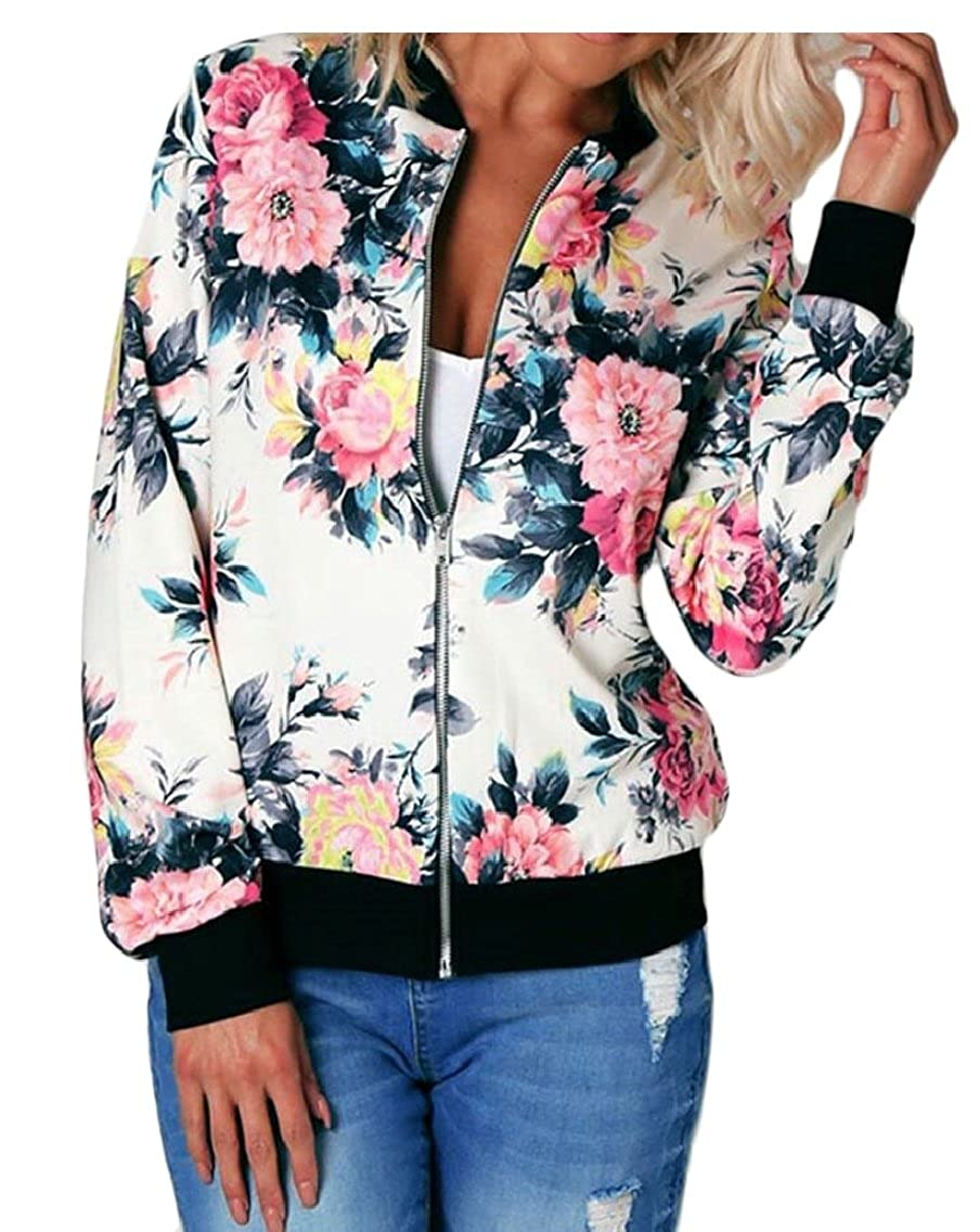 Keaac Womens Stand Collar Zipper Floral Print Bomber Casual Jacket