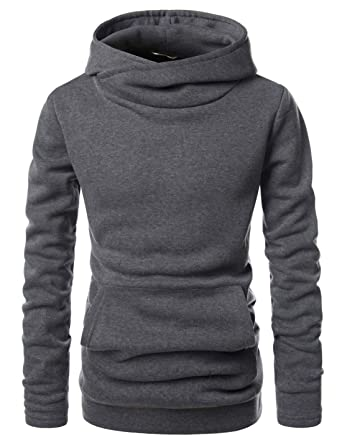 7745a08ff (NKNKH510) Beloved Mens Kangaroo Pocket Fleece Added Hooded Sweatshirts  Charcoal US XS(Tag