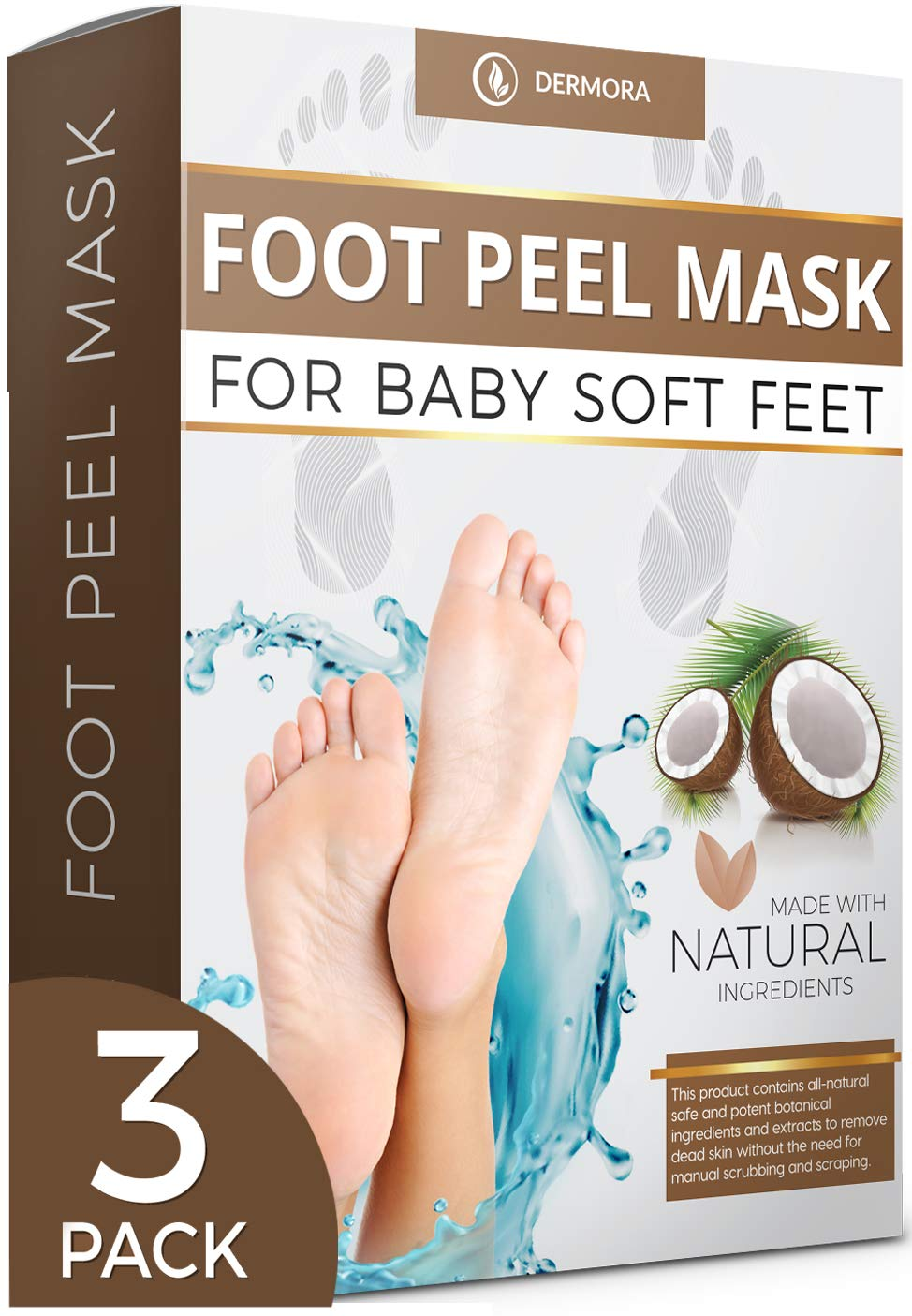 Coconut Foot Peel Mask - 3 Pack - For Cracked Heels, Dead Skin & Calluses - Make Your Feet Baby Soft Get Smooth Silky Skin - Removes Rough Heels, Dry Skin - Natural Treatment
