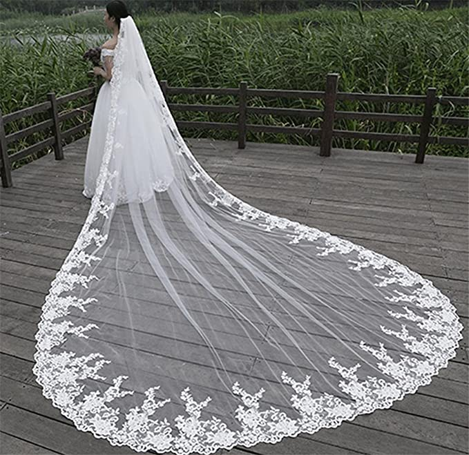 Amazon.com: QQA 3M bride veil wedding Accessories cathedral Long tail Lace applique decoration edge white princess chiffon