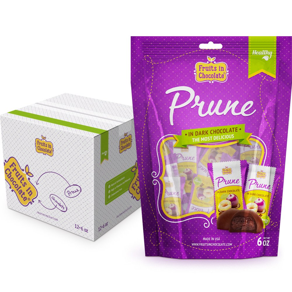 Dark Chocolate Covered Prunes, 6 Oz Bag (Pack of 12) by Fruits in Chocolate