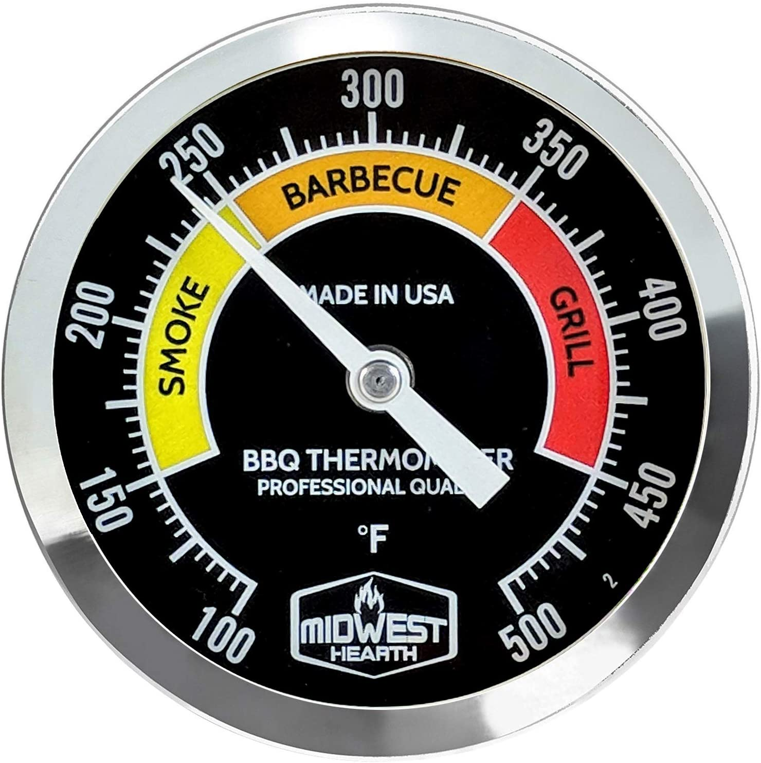 "Midwest Hearth BBQ Smoker Thermometer for Barbecue Grill, Pit, Barrel 3"" Dial (4"" Stem Length, Black Dial)"