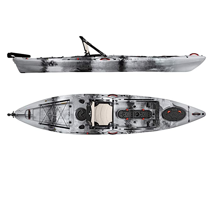 Vibe Kayaks Sea Ghost 130 | 13 Foot | Angler Sit On Top Fishing Kayak with Adjustable Hero Comfort Seat & Transducer Port + Rod Holders + Storage + Rudder System Included