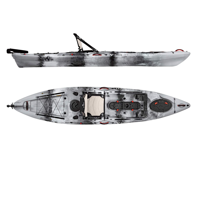 Vibe Kayaks Sea Ghost 130 | 13 Foot | Angler Sit On Top Fishing Kayak with Paddle and Adjustable Hero Comfort Seat (Smoke Camo)