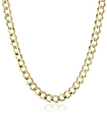 amazon cuban chain s yellow com dp necklace mens men gold