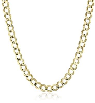 160168155 Men's 14k Yellow Gold 7mm Cuban Chain Necklace, 24