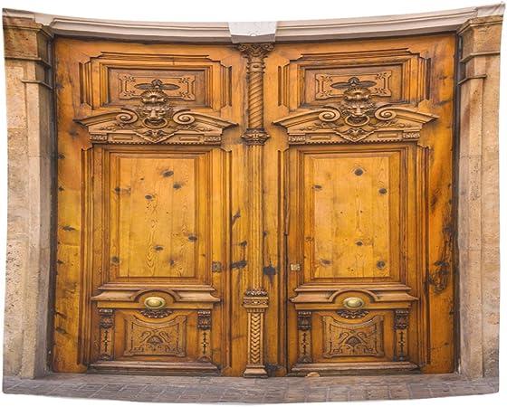 Tapiz abstracto antiguo de madera para puerta con hermosos tallados en Valencia España, decoración antigua para
