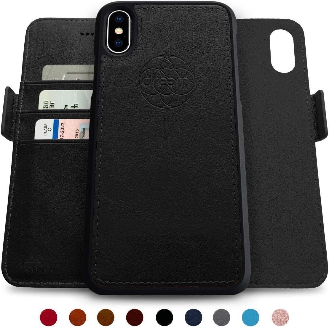 Dreem Fibonacci 2-in-1 Wallet-Case for iPhone X & Xs, Magnetic Detachable Shock-Proof TPU Slim-Case, RFID Protection, 2-Way Stand, Luxury Vegan Leather, GiftBox - Black