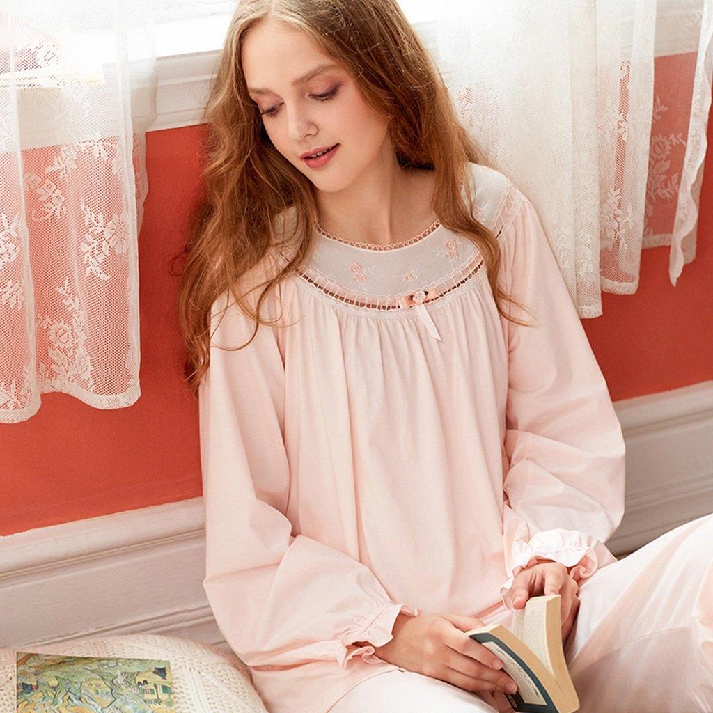 Damas otoño retro pijamas encaje pijamas Pink mamá Pantalones de ...