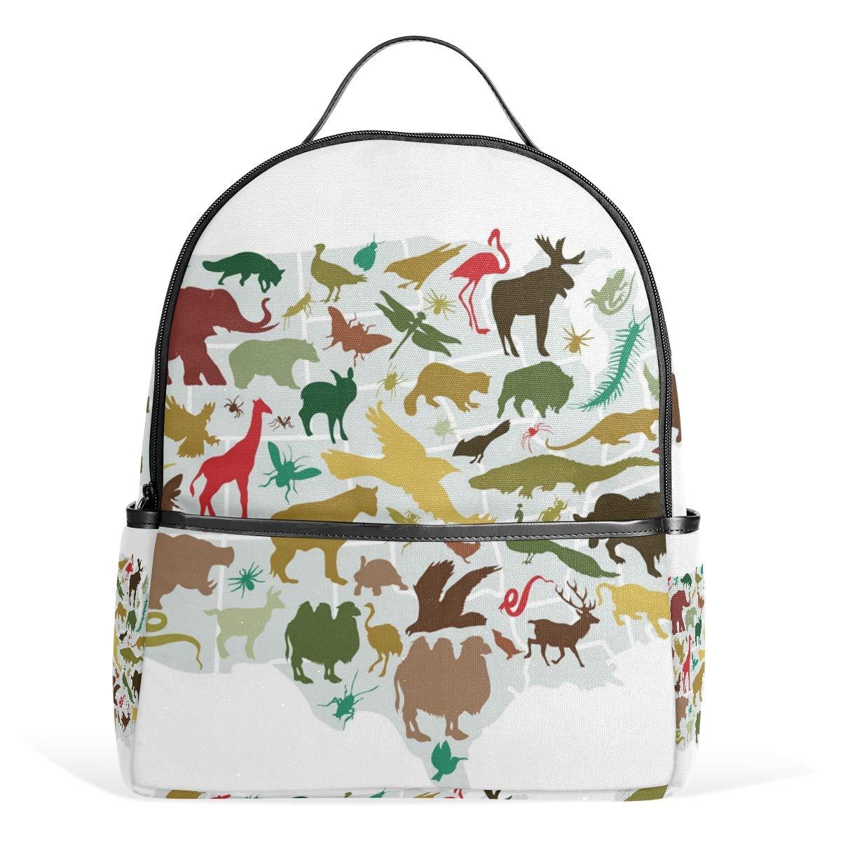 スクールバックパック 動物地図 旅行バッグ ティーンエイジャー 男の子 女の子用   B07G9T6Q6T