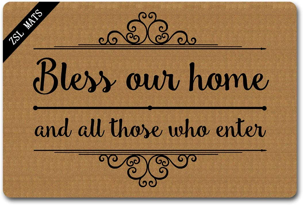 ZSL Funny Welcome Mats Anti-Slip Rubber Doormat Bless Our Home and All Those who Enter with Personalized Design Entrance Way Outdoor Indoor Doormat Kitchen mats and Rugs (23.6 X 15.7 in)