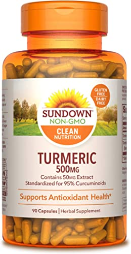 Turmeric Supplements by Sundown, for Antioxidant Health, Standardized Turmeric Extract, Non-GMO , Free of Gluten, Dairy, Artificial Flavors, 500 mg, 90 Capsules