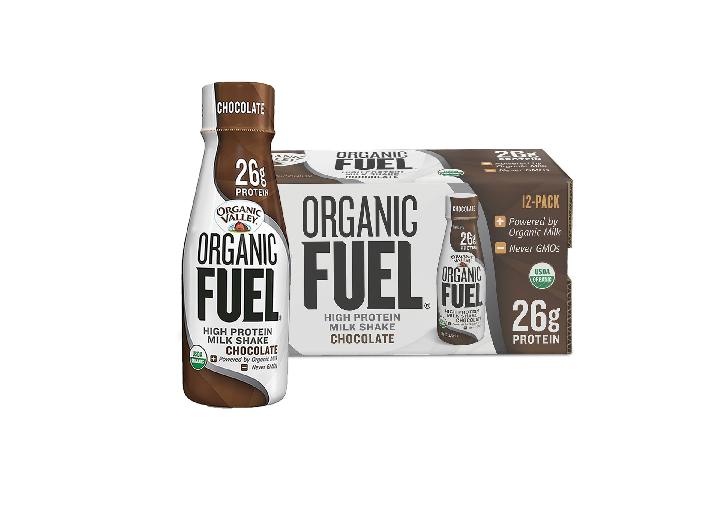 Organic Valley, Organic Fuel, Organic Milk Protein Shake, Chocolate, 11 Ounces (Pack of 12)