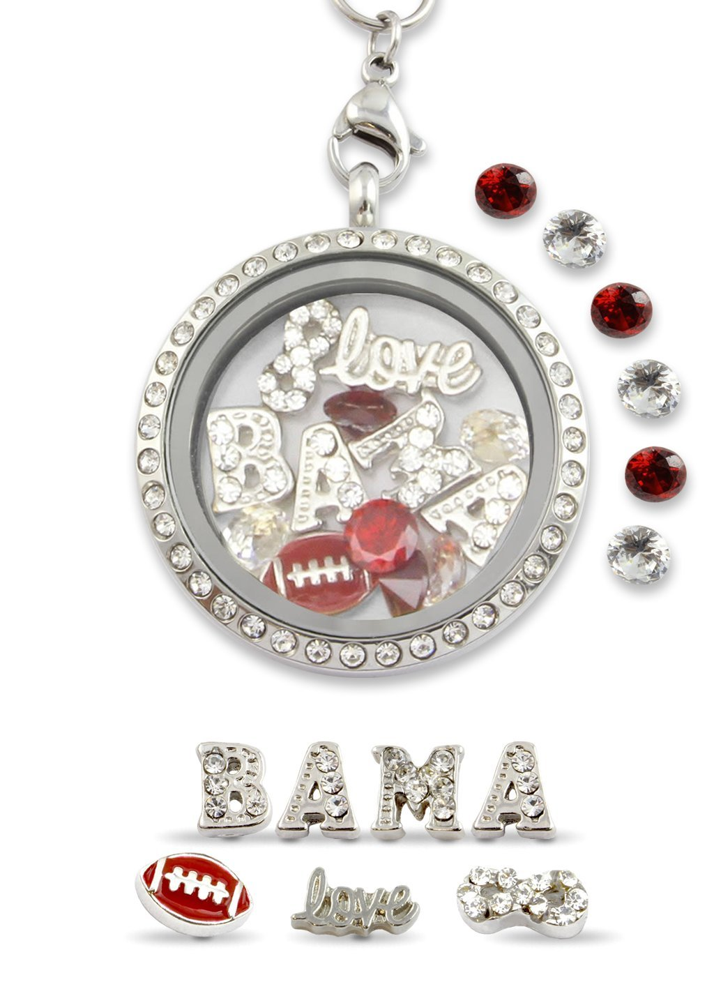 Infinity Love Alabama College Football Floating Charm Living Memory Locket Magnetic Closure 30mm Stainless Steel Pendant Necklace
