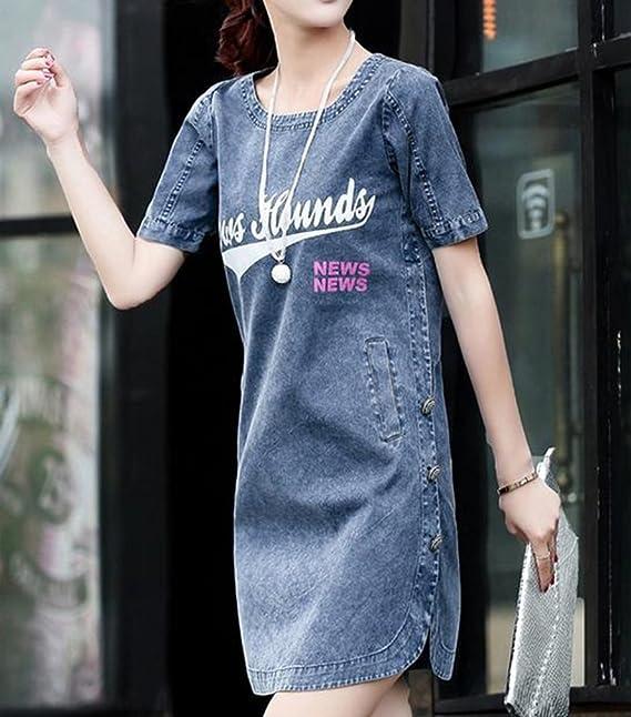 77a0c28a56b9 BININBOX Damen Kleid Kurzarm Rundhals Denim Blusenkleid A-Linie Slim Kleid   Amazon.de  Bekleidung