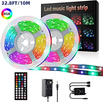 YLCVBUD 32.8ft Music Sync RGB Color Changing LED Strip Rope Lights