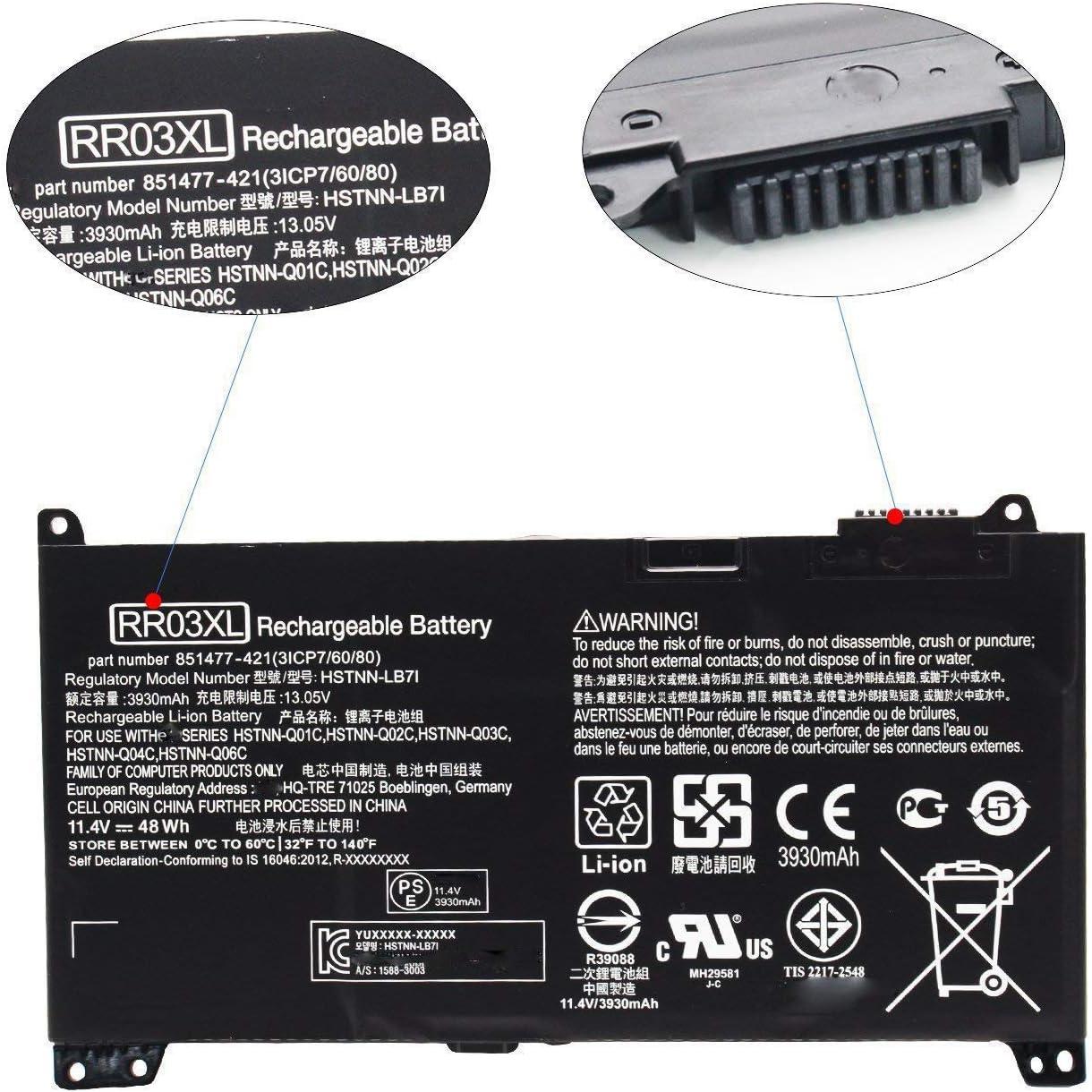 ASKC 11.4V 48Wh RR03XL Laptop Battery for HP ProBook 430 440 450 455 470 G4 mt20 Series 851477-421 851477-541 851477-831 851610-850 HSTNN-LB7I HSTNN-PB6W