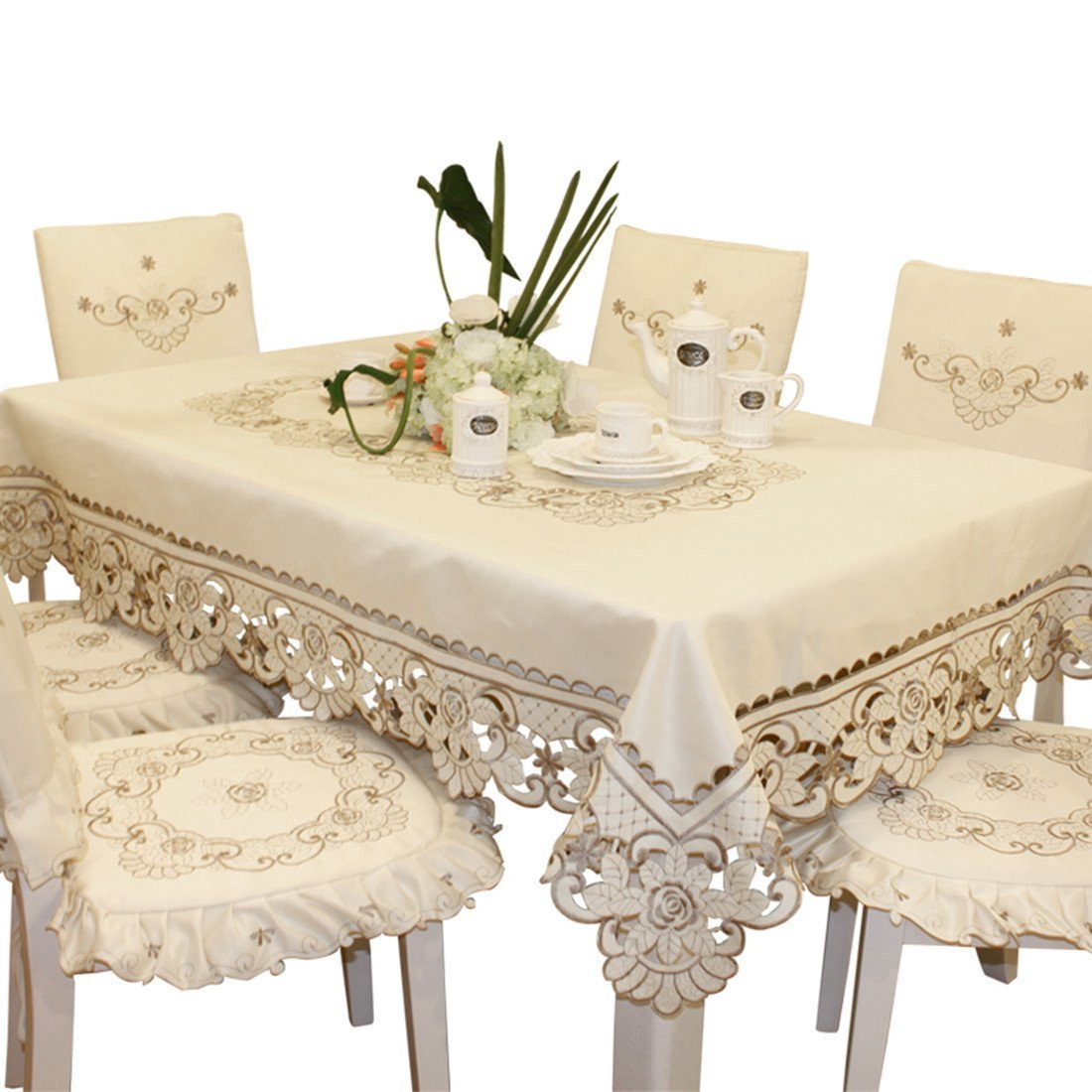 Brown Flower Embroidered lace Cream Tablecloth Rectangular 60 inch x 86 inch Approx Multi