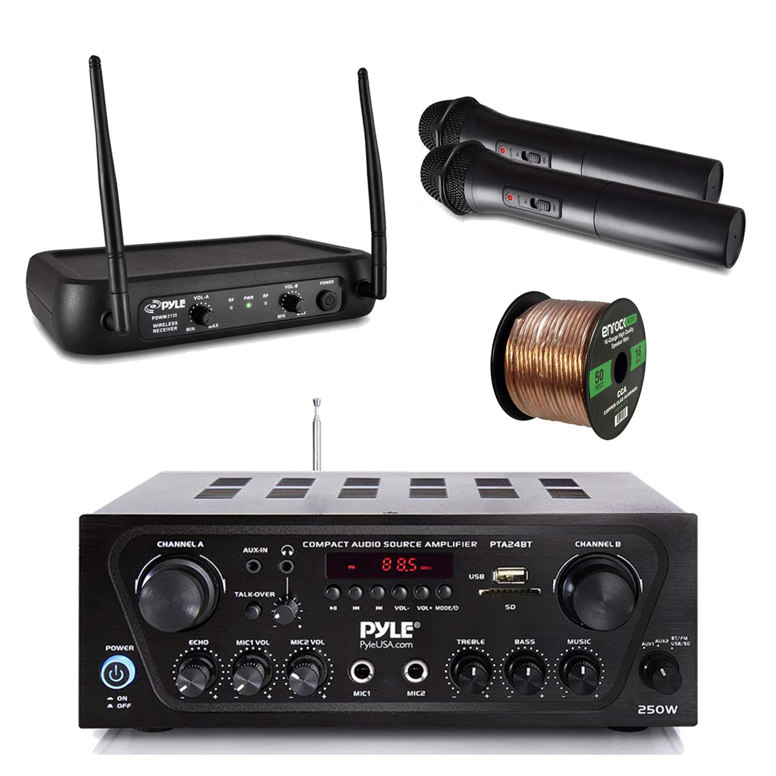 Pyle Wireless Bluetooth Stereo Receiver Amplifier, Dual Channel VHF Wireless Microphone System, Enrock Audio 16-Gauge 50 Foot Speaker Wire - PA, Karaoke, DJ