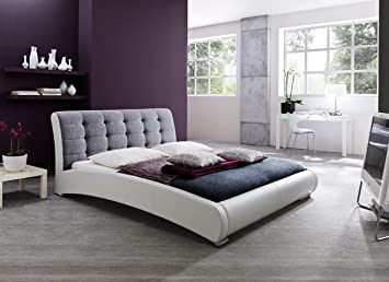 baxton studio guerin contemporary white faux leather fabric two tone upholstered grid tufted platform bed - White Platform Bed Frame