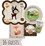 Big Dot of Happiness Woodland Creatures - Baby Shower or Birthday Party Tableware Plates, Cups, Napkins - Bundle for 16