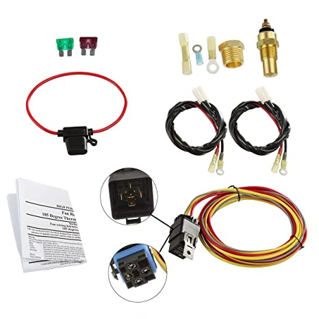 711fnNGlstL._SX466_ amazon com dual electric cooling fan wiring install kit 185 165