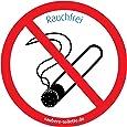 8x Bitte nicht rauchen Rauchfrei - runde Aufkleber in Weiß - Rauchen verboten! No Smoking!