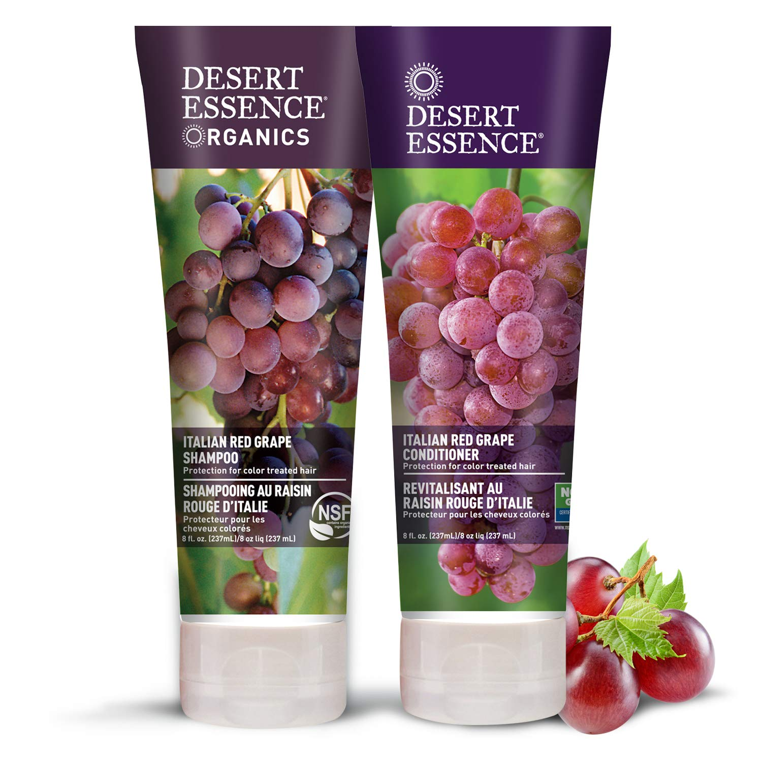 Desert Essence Italian Red Grape Shampoo & Conditioner Bundle - 8 Fl Ounce - Protection For Color Treated Hair - Antioxidant - Vitamin B5 - Natural - Protect Hair From UV Filters